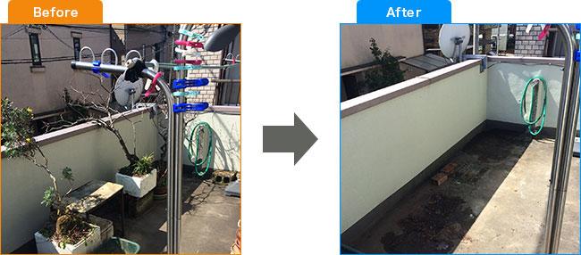 ベランダ植木処分・観葉植物処分・土・プランター処分 Before,After 2